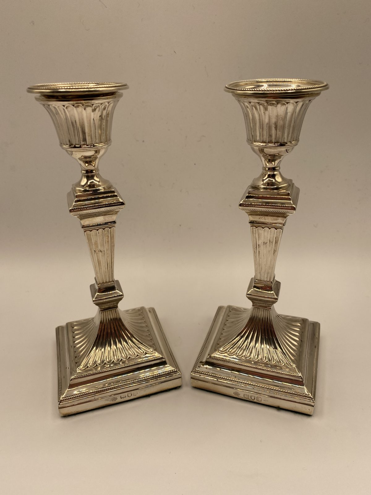 CAB 14 - A Pair of Loaded Victorian Silver Candlesticks, London 1896, 16cm tall.  £595