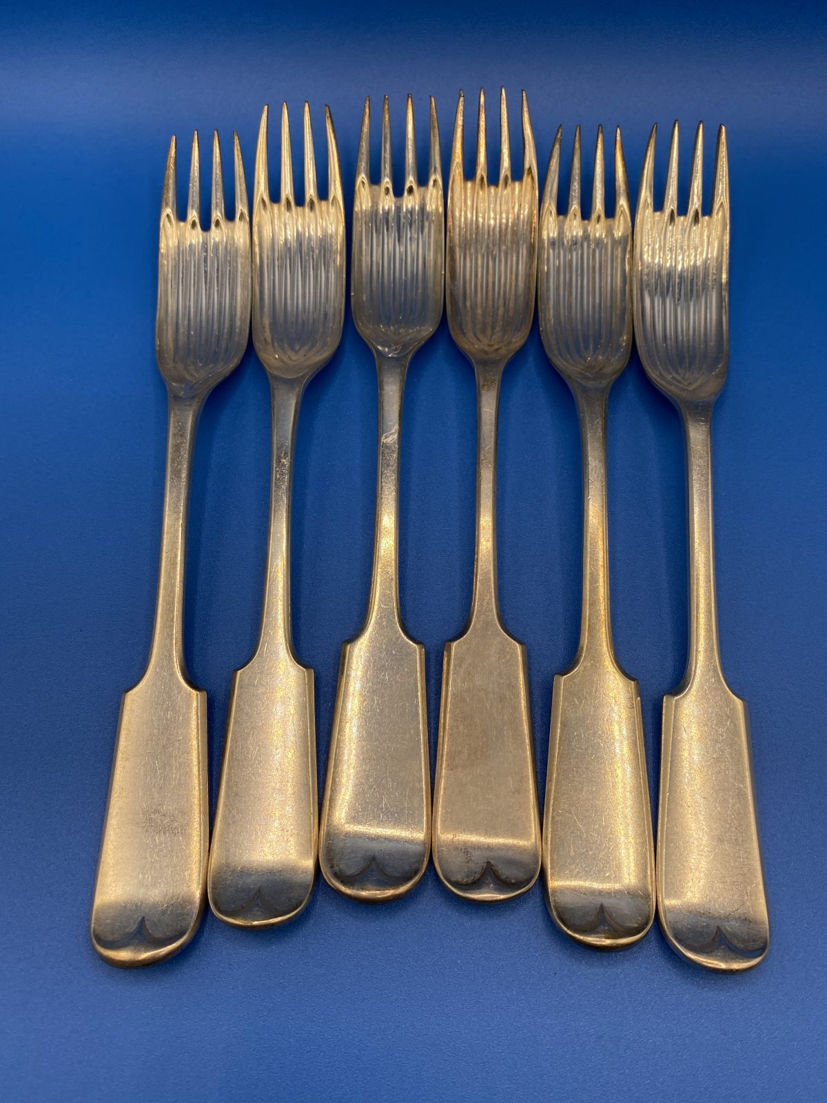 G3 - A rare Set of 6 Silver Plated Fiddle Pattern Table Sporks.  £78