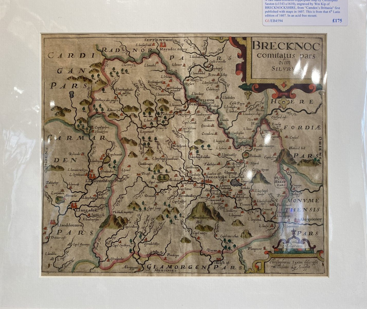 G1 - A rare early hand-coloured map of BRECKNOCKSHIRE by Christopher Saxton (1543-1610) & William Kip, from Camdens Britannia of 1607. In a new acid free mount ready for framing.  £175