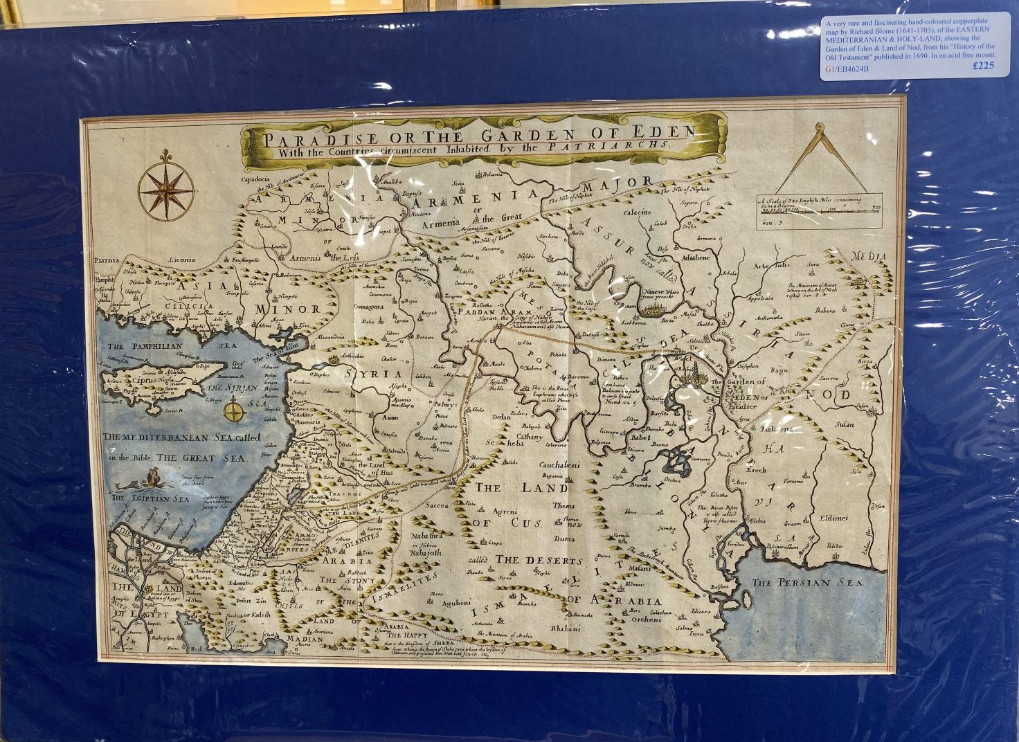 G1 - A very rare and fascinating hand-coloured copperplate map of the EASTERN MEDITERRANIAN & HOLY-LAND showing the Garden of Eden and Land of Nod, by Richard Blome (1641-1705).  From his History of the Old Testament published in 1690. In an acid free mount ready for framing.  £225