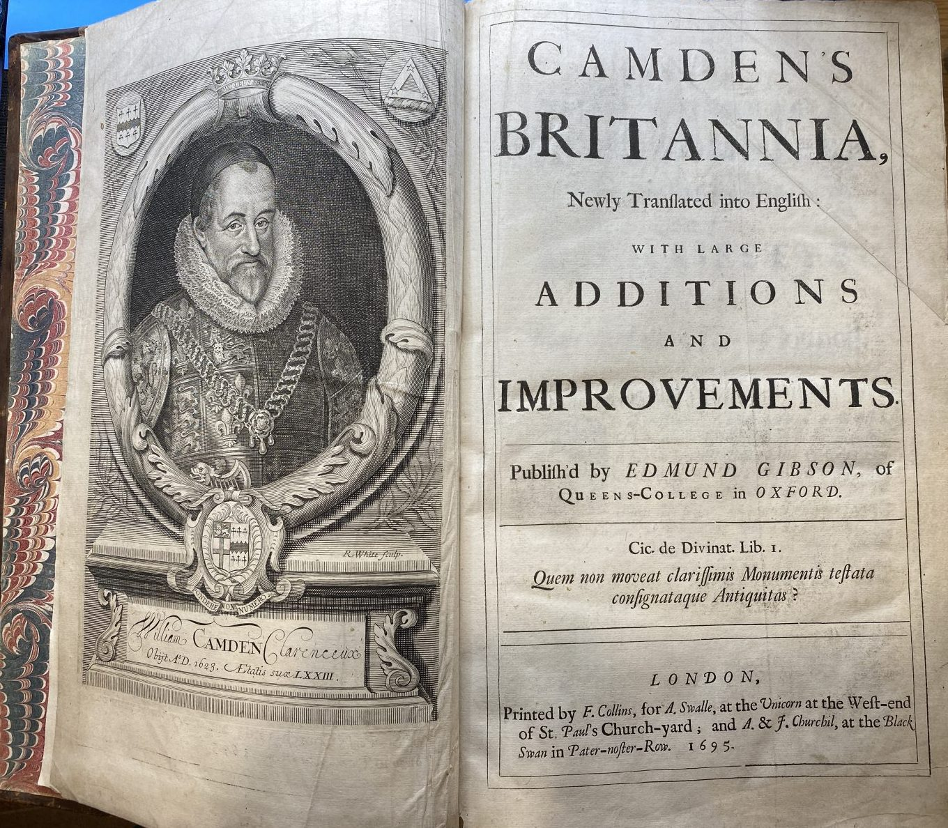 G1 - A good copy of the 1st Gibson edition of Camdens Britannia of 1695, with frontispiece, 50 uncoloured maps by Robert Morden, 8 full-page plates of coins and 1 further full-page plate. This copy is in contemporary panelled calf with a later matching spine with 6 raised bands and a black and gold label. It is in very good clean condition with recent expert repair to corners and end papers. The contents are complete and generally clean with the odd mark or stain. £3,950
