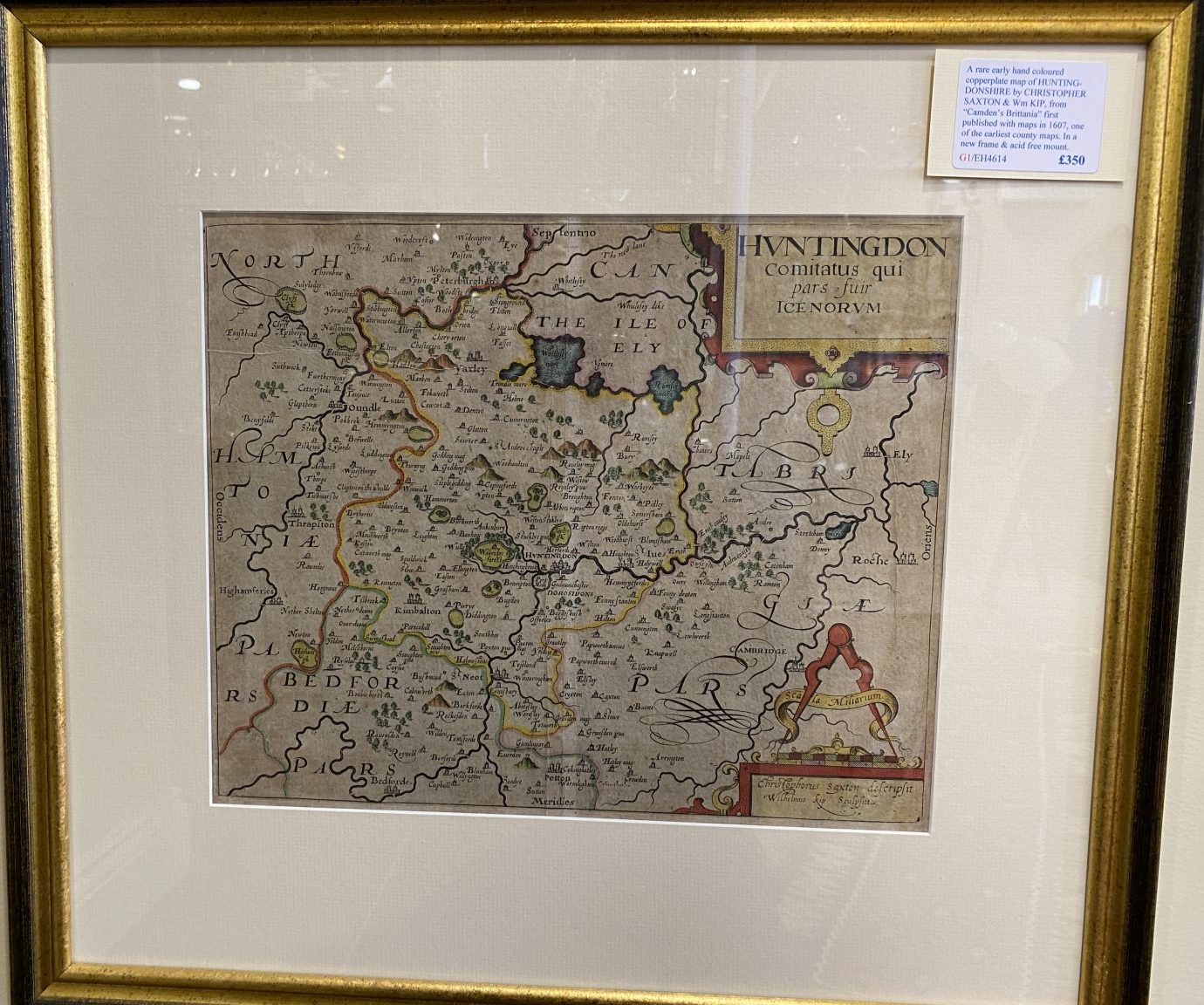 G1 - A rare early hand-coloured map of HUNTINGDONSHIRE by Christopher Saxton (1543-1610) & William Kip, from Camdens Britannia of 1607. In a new frame and acid free mount.  £350