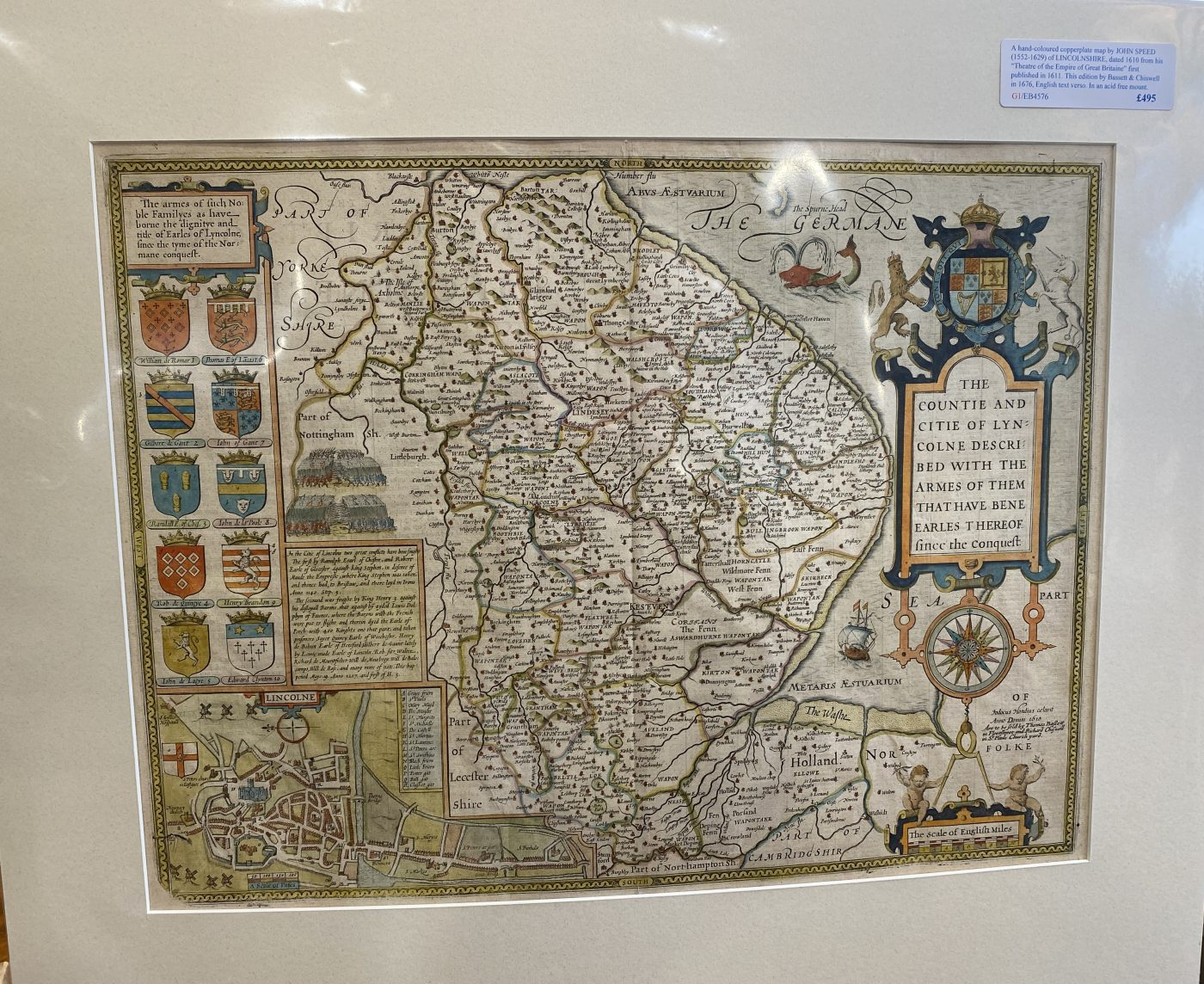 G1 - A Hand-coloured copperplate map of LINCOLNSHIRE by John Speed (1552-1629), from his Theatre of the Empire of Great Britaine. This edition published by Bassett & Chiswell in 1676, English text verso. New acid free mount ready for framing.   £495