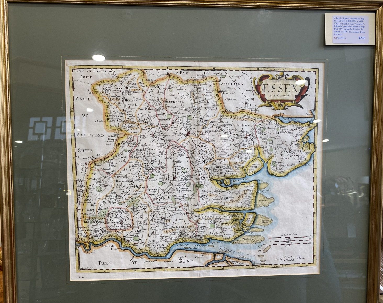 G1 - A hand-coloured 1st Edition copperplate map of ESSEX by Robert Morden (1650-1703) from Camdens Britannia of 1695, in a vintage frame & mount.  £225