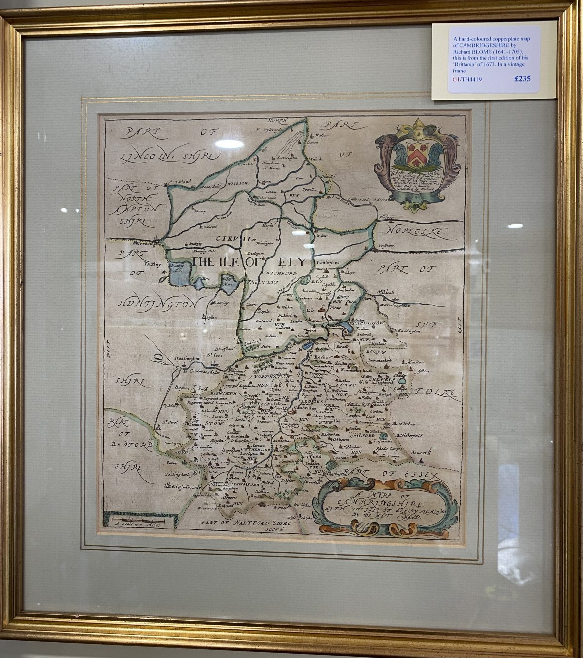G1 - A hand-coloured copperplate map of CAMBRIDGESHIRE by Richard Blome (1641-1705) from his Britannia of 1673. In a vintage frame.  £235