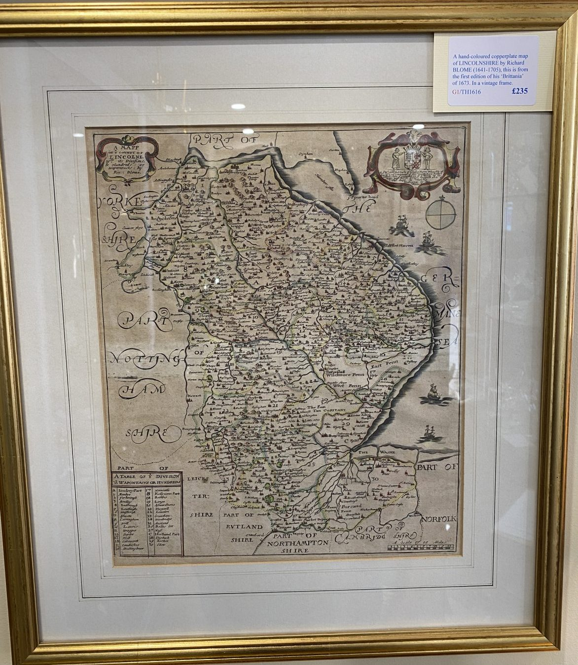 G1 - A hand-coloured copperplate map of LINCOLNSHIRE by Richard Blome (1641-1705) from his Britannia of 1673. In a vintage frame.  £235