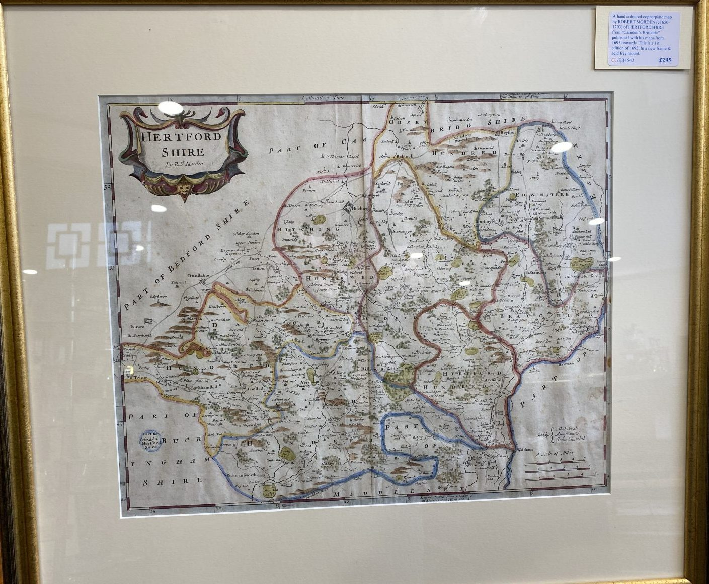 G1 - A hand-coloured 1st Edition copperplate map of HERTFORDSHIRE by Robert Morden (1650-1703) from Camdens Britannia of 1695, in a  new frame & acid free mount.  £295