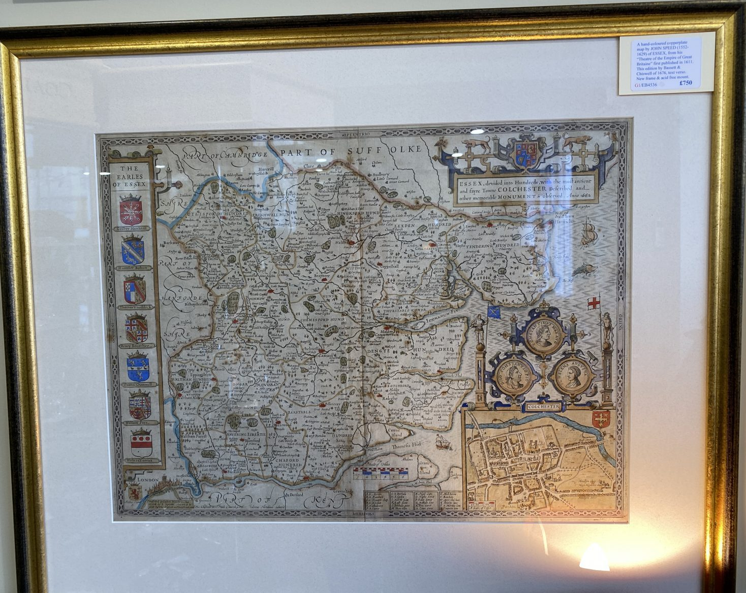 G1 - A Hand-coloured copperplate map of ESSEX by John Speed (1552-1629), from his Theatre of the Empire of Great Britaine. This edition published by Bassett & Chiswell in 1676, text verso. New frame and acid free mount.   £750