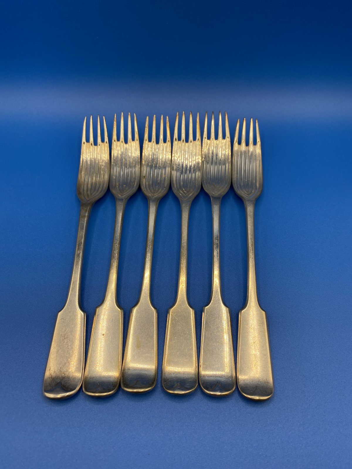 G3 - A rare Set of 6 Silver Plated Fiddle Pattern Dessert Sporks.  £68