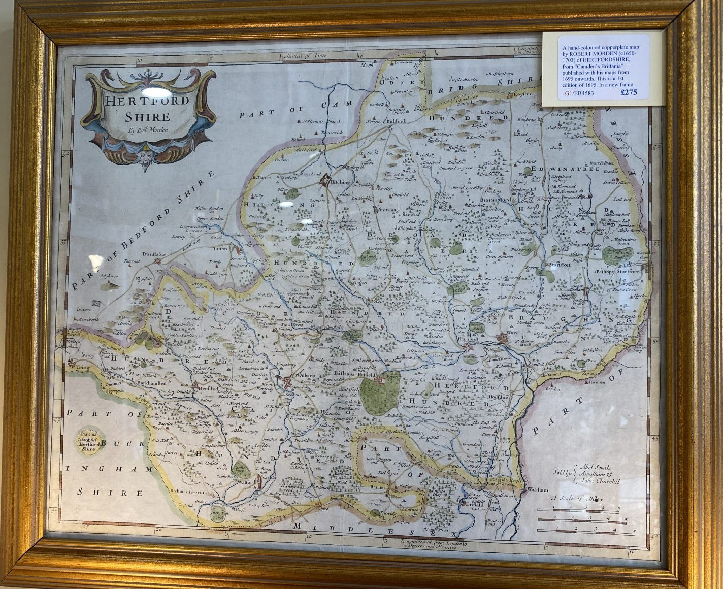 G1 - A Hand-coloured copperplate map of HERTFORDSHIRE by Robert Morden (1650-1703) from Camdens Britannia of 1695, in a new frame.  £275