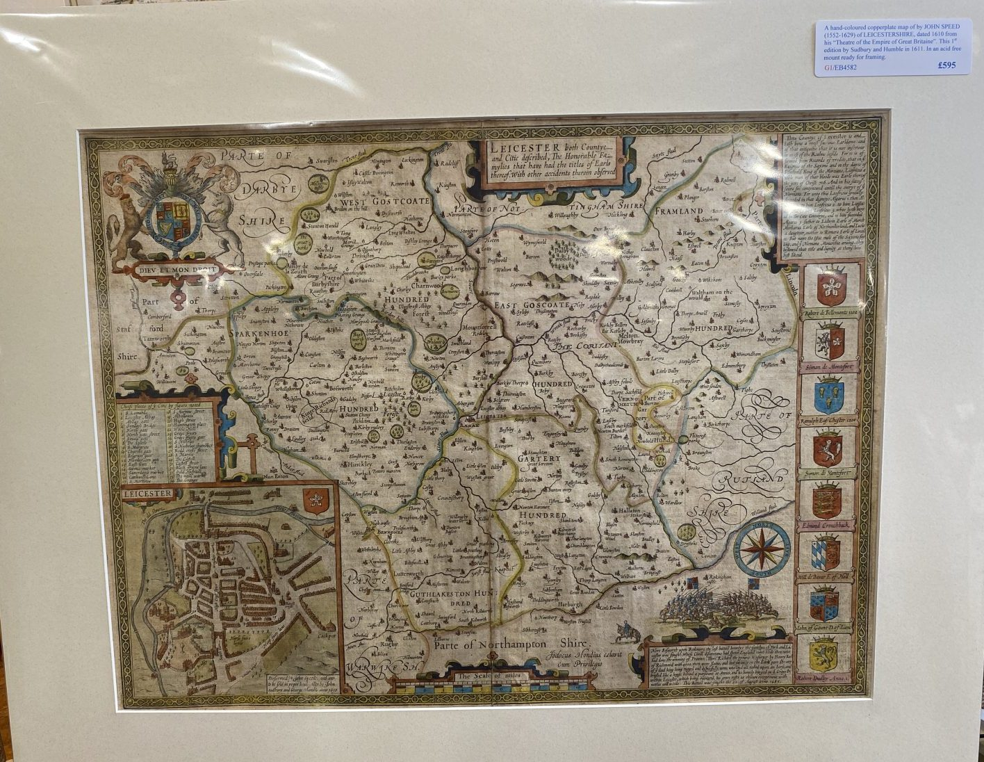 G1 - A Hand-coloured copperplate map of LEICESTERSHIRE by John Speed (1552-1629), from his Theatre of the Empire of Great Britaine. This 1st edition published by Sudbury & Humble  in 1611, English text verso. New acid free mount ready for framing.   £595