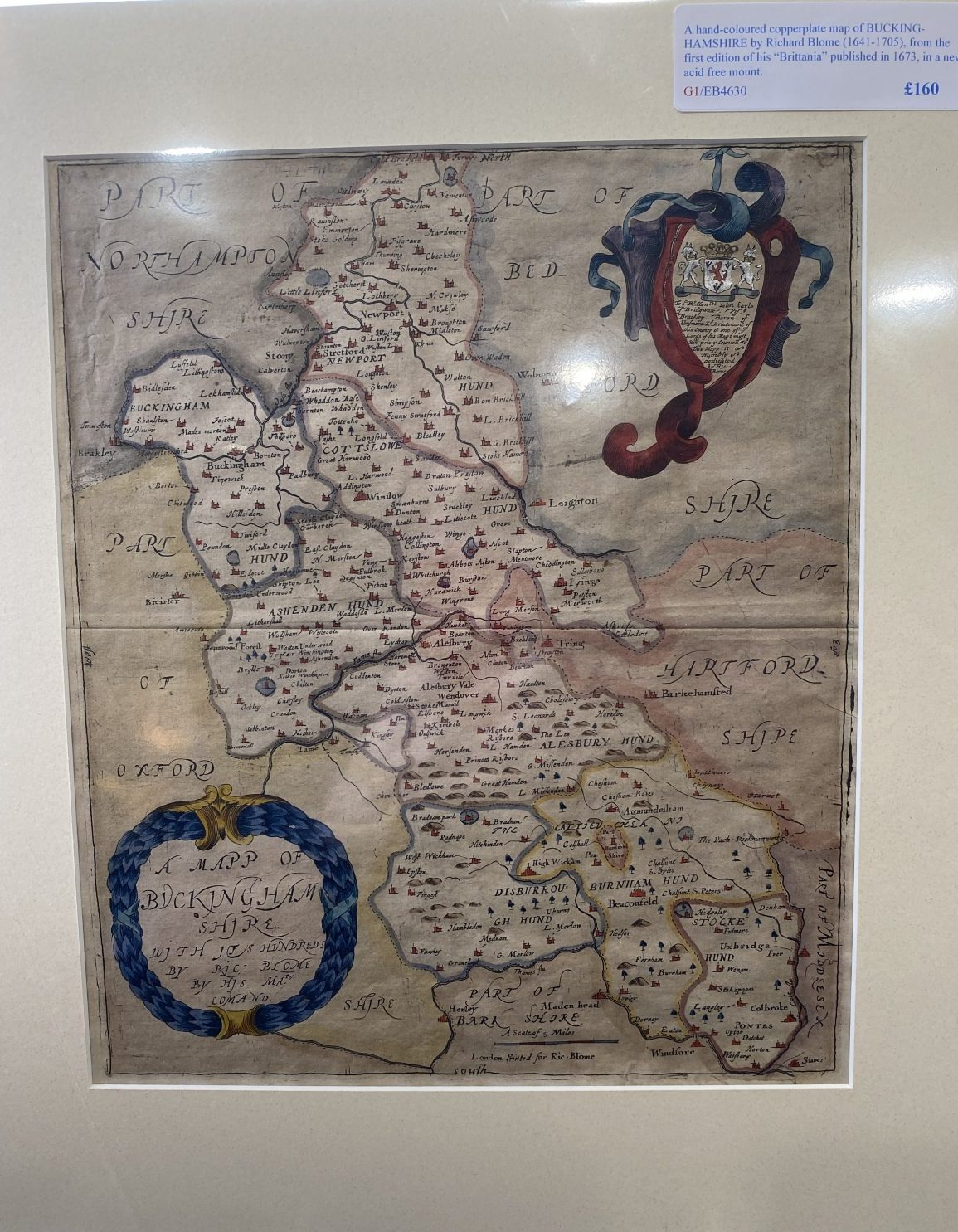 G1 - A hand-coloured copperplate map of BUCKINGHAMSHIRE by Richard Blome (1641-1705) from his Britannia of 1673. In a new acid free mount ready for framing.  £160