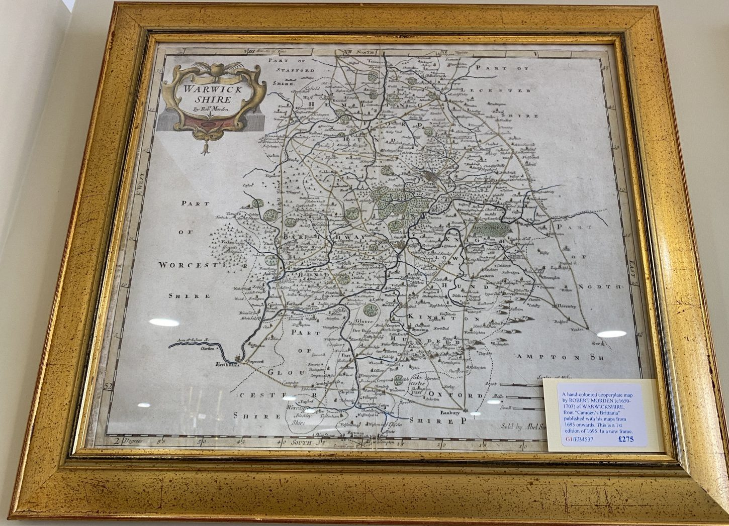 G1 - A hand-coloured copperplate map of WARWICKSHIRE by Robert Morden (1650-1703) from Camdens Britannia of 1695, in a new frame.  £275