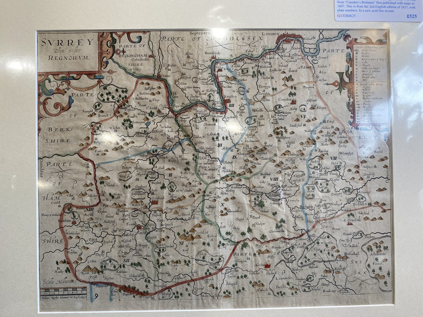 G1 - A very rare copperplate map of SURREY by John Norden (1548-1626), from Camdens Britannia, this edition from the 2nd english edition of 1637 with added plate numbers. In a new acid free mount ready for framing.  £525