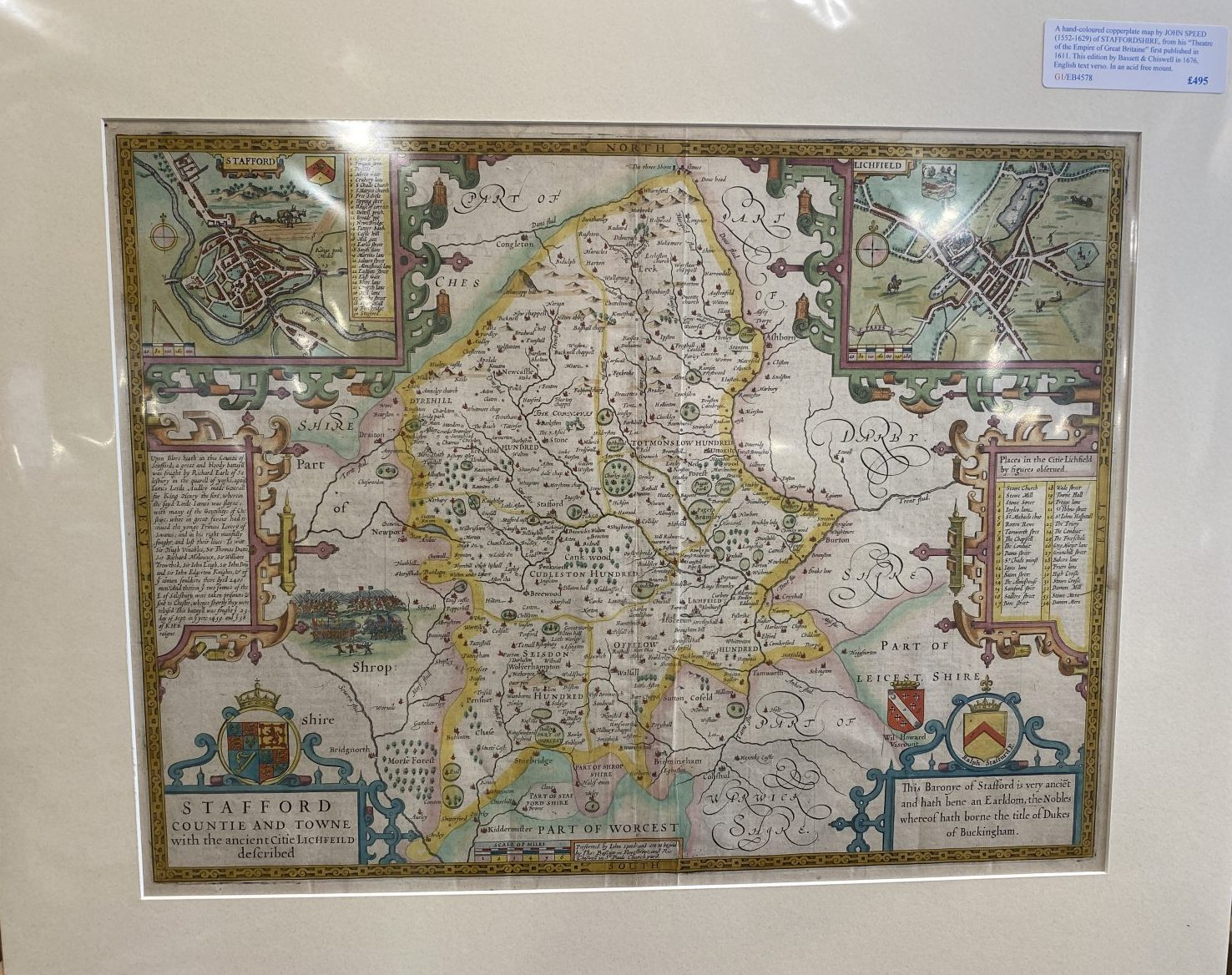 G1 - A Hand-coloured copperplate map of STAFFORDSHIRE by John Speed (1552-1629), from his Theatre of the Empire of Great Britaine. This edition published by Bassett & Chiswell in 1676, English text verso. New acid free mount ready for framing.   £495