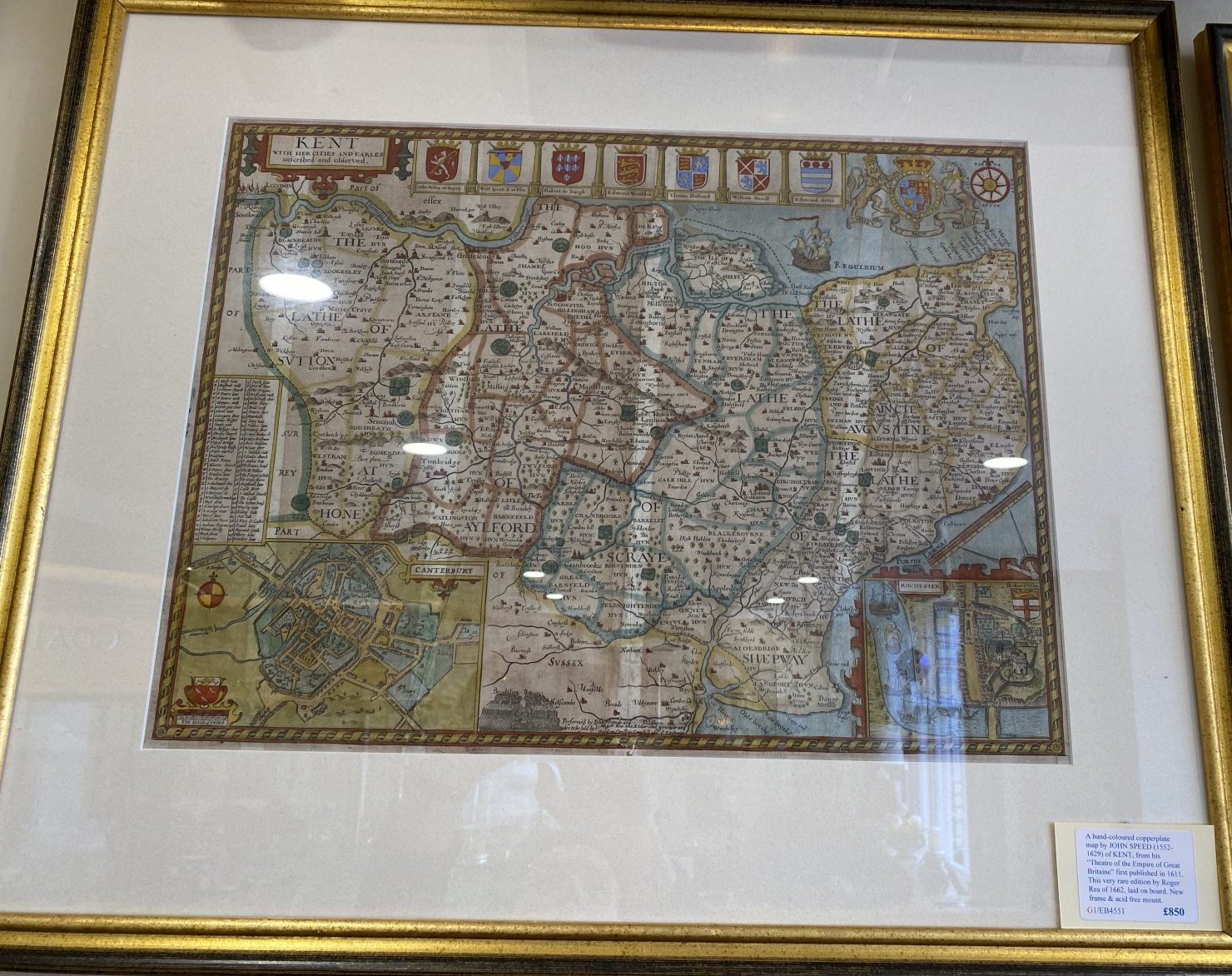 G1 - A Hand-coloured copperplate map of KENT by John Speed (1552-1629), from his Theatre of the Empire of Great Britaine. This is the very rare 1662 edition published by Roger Rea. Laid on board, in a new frame and acid free mount.  £850